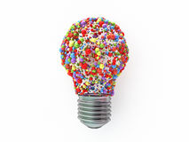 Bulb shape  made from colored spheres. On white background Royalty Free Stock Photography