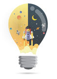 Bulb shape,Start up concept. rocket flying on earth. Paper art Stock Photography