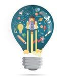 Bulb shape, Start up concept. rocket flying education concept. Vector vector illustration