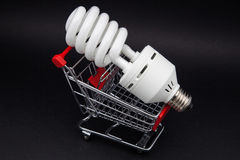 With bulb shopping cart Stock Images