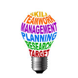 Bulb of skill teamwork management planning research target. This image is useful in business success stock illustration