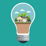 Bulb with smart house ecological panel solar Royalty Free Stock Image