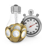 Bulb and stopwatch Royalty Free Stock Photos