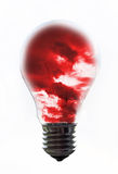 Bulb storm. Red storm in a common bulb isoleated Stock Photo