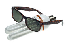 Bulb in sunglasses Royalty Free Stock Photo