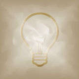 Bulb symbol on vintage crumpled Royalty Free Stock Photo
