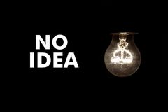 Bulb with text NO IDEA Stock Images