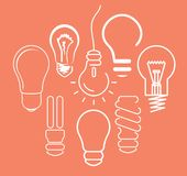 Bulb thin icons Stock Photography