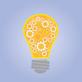 Bulb think ideas with gears. Vector illustration Stock Photography
