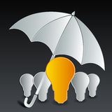 Bulb under umbrella Stock Image