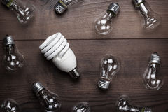 Bulb uniqueness concept. On brown woodentable Stock Photo