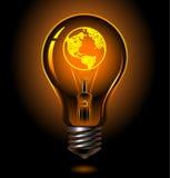 Bulb-usa. Vector bulb with earth inside (america Stock Photo