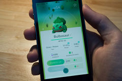 Bulbasaur was caught. Royalty Free Stock Images