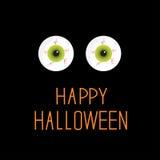 Bulbi oculari. Occhi verdi. Carta felice di Halloween. Fotografia Stock