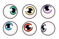 Bulbi oculari umani messi occhi che guardano nelle direzioni differenti fotografia stock