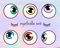 Bulbi oculari umani messi su fondo olografico occhi che guardano nelle direzioni differenti fotografia stock