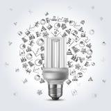 Bulbo ahorro de energía con los iconos del diagrama Fotos de archivo