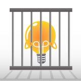 Bulbo amarillo en una jaula Fotografía de archivo