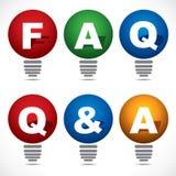 Bulbo con el texto del FAQ y del Q&A Fotografía de archivo