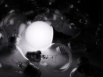 Bulbo de incandescência do diodo emissor de luz entre os incandescentes Imagem de Stock