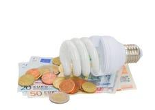 Bulbo de lámpara ahorro de energía en el dinero euro Foto de archivo libre de regalías