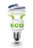 Bulbo de lámpara con los paneles solares. Imagen de archivo libre de regalías
