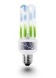 Bulbo de lámpara con los paneles solares. Imagenes de archivo