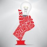 Bulbo de lâmpada aprovado da mão Imagem de Stock