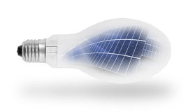 Bulbo de lâmpada com painéis solares. Fotografia de Stock