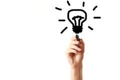 Bulbo de lâmpada do desenho da mão com marcador preto Imagens de Stock Royalty Free