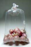 Bulbo de la cebolla roja en la bolsa de plástico Foto de archivo libre de regalías