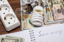 Bulbo de la luz eléctrica con los billetes de dólar, la pluma y la calculadora Fotografía de archivo libre de regalías