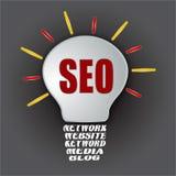 Bulbo de Seo con la base del blog de los medios de la palabra clave del Web site de la red Foto de archivo libre de regalías