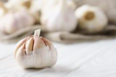 Bulbo del ajo en el fondo de madera blanco Imagen de archivo libre de regalías