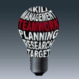 Bulbo do alvo da pesquisa do planeamento dos trabalhos de equipa da gestão da habilidade Fotografia de Stock Royalty Free