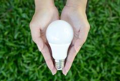Bulbo do diodo emissor de luz - iluminação da energia em nosso controle Fotografia de Stock