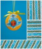 Bulbo do Natal, pouco anjo e cordas de grânulos Ilustração Stock
