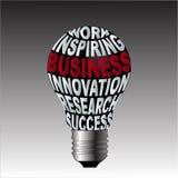 Bulbo do sucesso da pesquisa da inovação do negócio da inspiração do trabalho Fotos de Stock Royalty Free