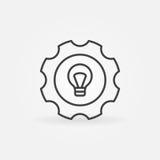 Bulbo en icono del engranaje ilustración del vector