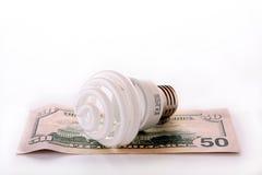 Bulbo fluorescente com dinheiro Imagem de Stock Royalty Free
