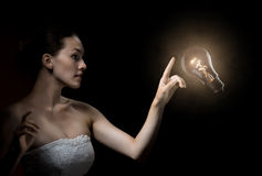 Bulbo iluminado foto de stock royalty free