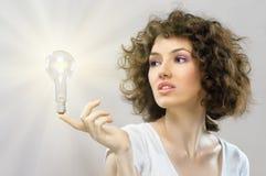 Bulbo iluminado foto de stock