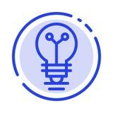 Bulbo, laboratorio, luz, línea de puntos azul línea icono de la bioquímica libre illustration