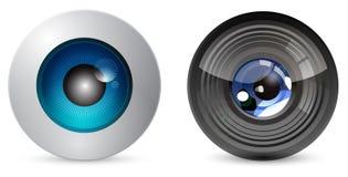 Bulbo oculare con l'obiettivo di macchina fotografica Fotografia Stock
