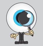 Bulbo oculare enorme che guarda tramite una lente d'ingrandimento illustrazione di stock