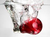 Bulbo rojo en agua Fotos de archivo libres de regalías