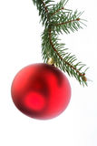 Bulbo vermelho do Natal isolado no branco Imagem de Stock Royalty Free