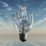 Bulbo y cielo de la mano ilustración del vector