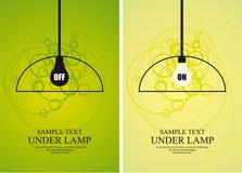 Bulbo y lámpara en fondo del círculo Imagenes de archivo
