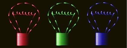 Bulbos azules rojos de la luz verde del fenfire de neón, idea, fondo negro ilustración del vector